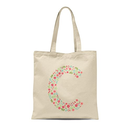 Bag Letter Letter Tote Personalised Gift C Alphabet Present Floral Birthday Any Shopper XqfwRC