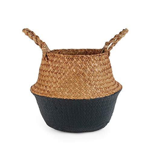 - BlueMake Woven Seagrass Belly Basket for Storage, Laundry, Picnic, Plant Pot Cover, and Grocery and Toy Storage (Small, Black)