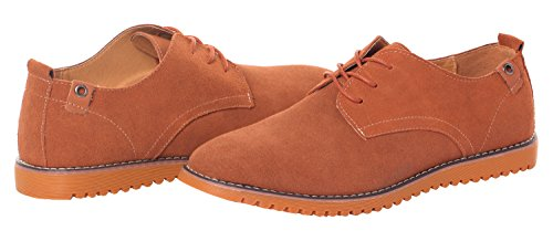 Runday Men's Fashion Suede Leather Shoes Round Toe Lace Up Casual Oxfords(9 D(M)US,tan) (9 D(M) US, Tan) by Runday (Image #6)