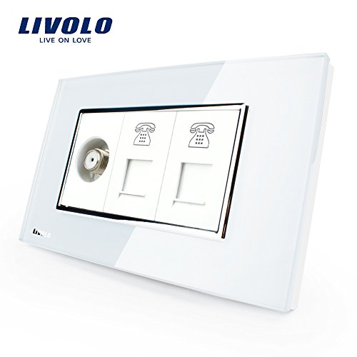 (LIVOLO White US/AU Standard Satellite Television & 2 Gang Telephone Socket With White Pearl Crystal Glass, C391STTT-81)