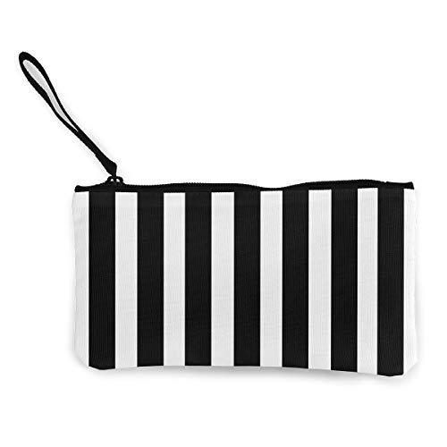 NOWDIDA Women's Canvas Zip Around Wallet Ladies Clutch Travel Purse Wrist Strap Black White Striped