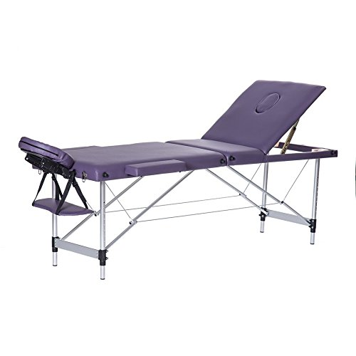 3 Section Folding Portable Massage Table Facial SPA Beauty Salon Tattoo Bed with Aluminium Leg and Carry Case – Violet