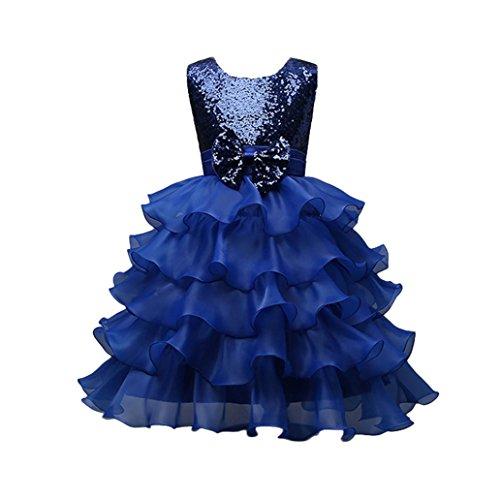 Girl Special Occasion Dress, Todaies Toddler Baby Girls Kids Bowknot Wedding Bridesmaid Tutu Princess Pageant Dress (Dark Blue, 5T)