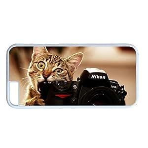 iCustomonline Cat Camera Funny PC White Skin Hard Case Cover Design for iPhone 6 (4.7 inch)