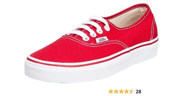 Amazon.com | Vans Classic Red Canvas Authentic Skate Shoe ...