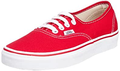 Vans Unisex Authentic Solid Canvas Skateboard Sneakers (4 D(M) US, Red)