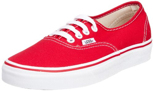 Vans Unisex Authentic(tm) Core Classics Red Sneaker Men's 5, Women's 6.5 Medium