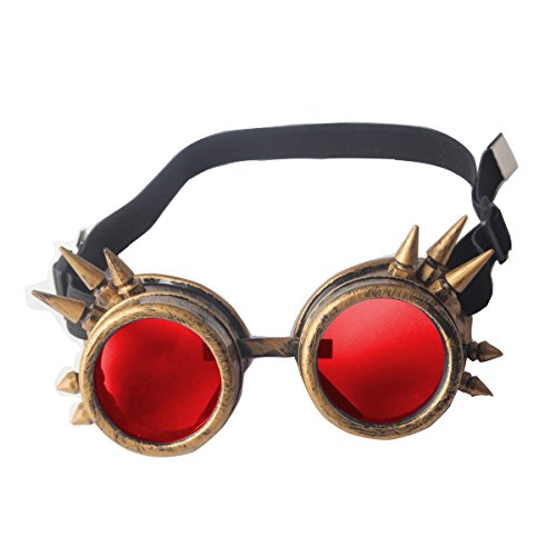 Halloween Cosplay Goggles, Spiked Retro Glasses Free Lens Steampunk -