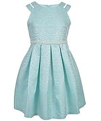 Bonnie Jean Big Girls' Brocade Party Dress, Aqua, 8