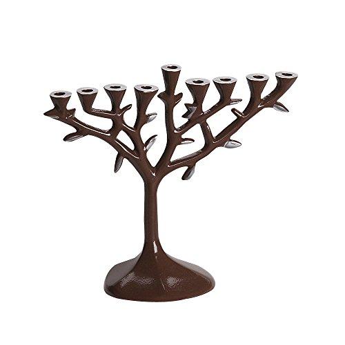 Israel Giftware Designs Aluminum Tree Menorah with Brown Finish by Israel Giftware Designs
