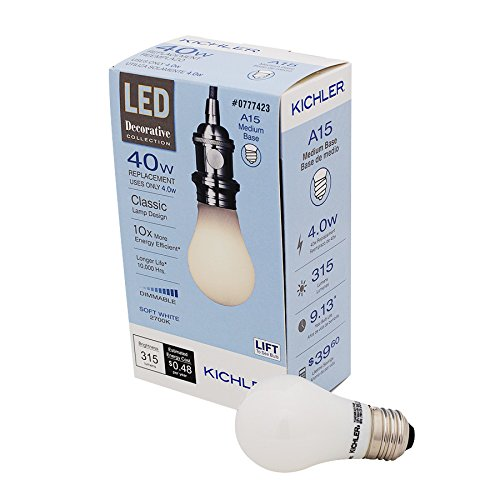 Kichler Frosted 40W Equivalent 4w Dimmable a15 Vintage LED Decorative Light Bulb Vintage Antique Style Light Bulb