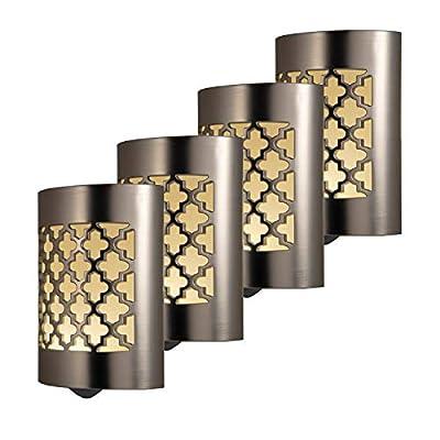 GE CoverLite LED Night Light Floral Design, 2 Pack, Plug-in, Dusk to Dawn Sensor, Home Decor, for Elderly, Ideal for Kitchen, Bathroom, Bedroom, Office, Nursery, Hallway, Brushed Nickel