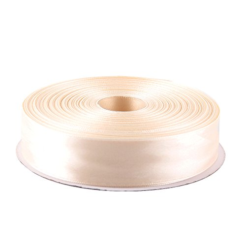Topenca Supplies 1 Inch x 50 Yards Double Face Solid Satin Ribbon Roll, Ivory
