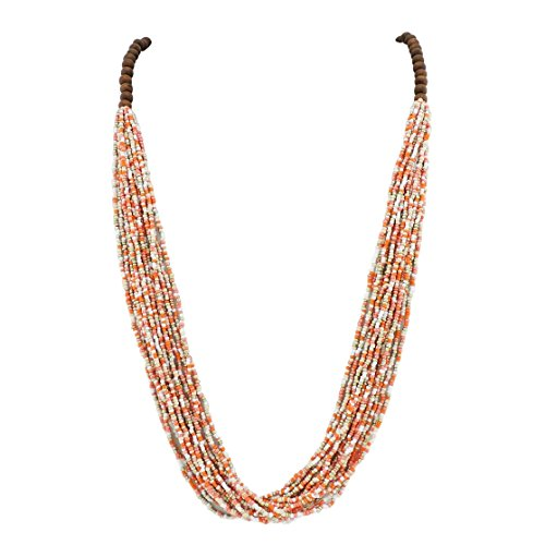 Bocar Long Multiple Row Handmade Beaded Statement Necklace with Gift Box (NK-10407-blazing Orange)