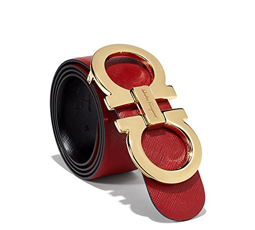 Authentic Salvatore Ferragamo Red/Black Reversible belt Double Gancio Gold Buckle (110cm fits 38-40)