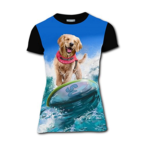 Girl Costume Surfer Ideas (Surfing Dog Happy Surfer T-shirts Tee Shirt for Women Tops Round Black)