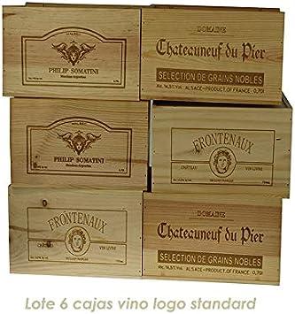 ZonaWine Set de 6 Cajas de Vino en Madera de Pino para 6 Botellas ...