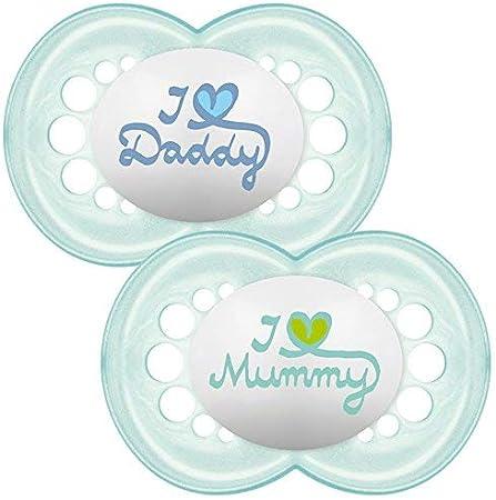 MAM Colori // Modelli assortiti Set di 2 succhietti con scritta: I love Mummy//Daddy con custodia da viaggio sterilizzabile 6+ mesi