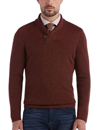 Joseph Abboud Modern Fit Solid Maroon Shawl Collar Wool Blend Sweater