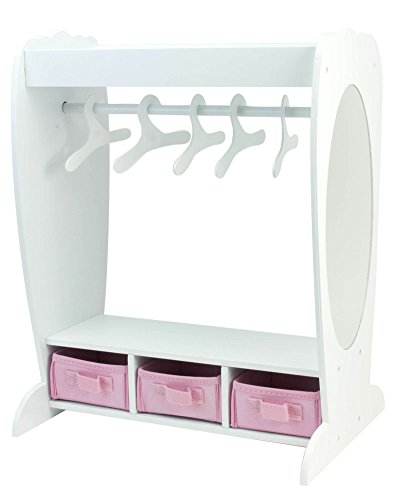 18 Inch Doll Clothes Furniture Dress Up Rack by Sophia's with Mirror & Storage Fits American Girl Doll Bedrooms and More! 18 Inch Doll Mirrored Clothing Rack with Hangers, 18 Inch Doll House Furniture from Sophia's