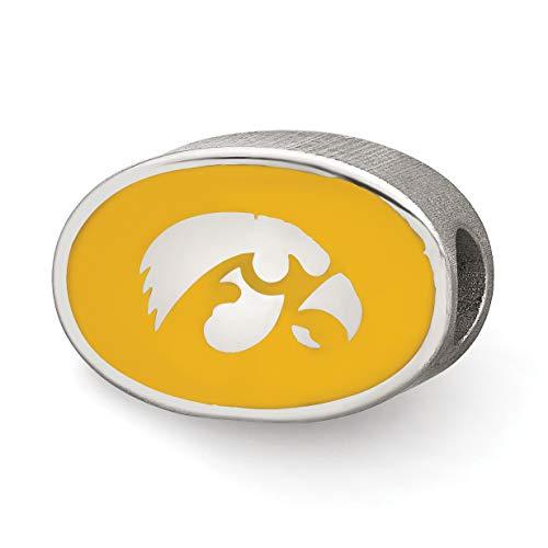 University of Iowa Hawkeyes School Mascot On Yellow Oval Bead in Sterling Silver 11x14mm