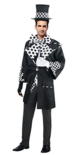 Ecilu Mens Deluxe Dark Mad Hatter Adult Halloween Costume Black/White Small