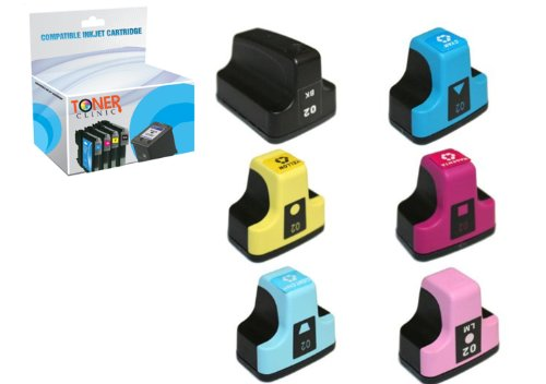 Toner Clinic ® 6PK 1 Black 1 Cyan 1 Magenta 1 Yellow 1 Light Cyan 1 Light Magenta Compatible Inkjet Cartridge for HP 02 02XL 02-XL HP02 HP02XL For use in HP Inkjet Printers Photosmart 3108 3110 3210 3210-xi 3310 8230 8250 C5100 C5140 C5150 C5180 C5183 C6100 C6150 C6180 C6200 C6240 C6250 C6280 C6283 C7150 C7180 C7200 C7250 C7280 C7283 C7288 C8150 C8180 C8183 D6100 D6160 D7160 D7200 D7260 D7360 D7400 D7460 - 6 Pack Compatible Inkjet Cartridges