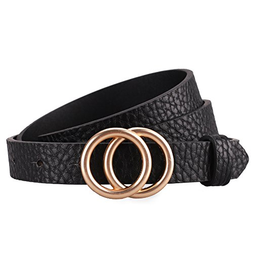 (Earnda Women's Skinny Belt Fashion Round Buckle Leather Belts for Women Pants Dress 5/6