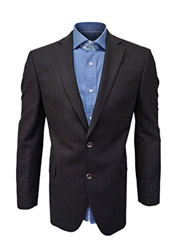Jack Victor Two Button - Jack Victor Brown & Navy Blue Blazer, 100% Wool, Two Button, Single Breasted (44L)