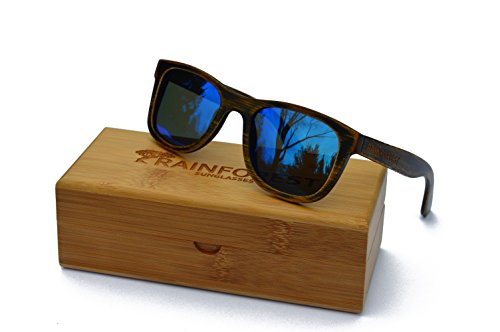 Rainforest Unisex- Adult's Bamboo Sunglasses, Polarized, Wayfarer, Driftwood Ice by Rainforest