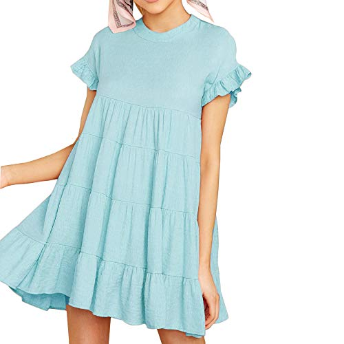 Joteisy Women's O Neck Ruffle Short Sleeve Tiered Casual Mini Dress (XL, Light Blue)