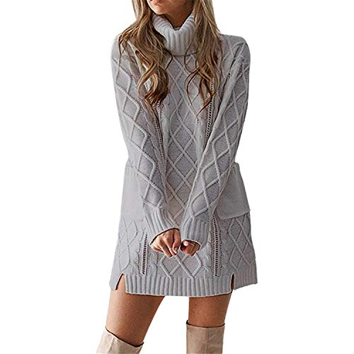 Londony ♪❤ Clearancesales,Women's Cashmere Knitted Turtleneck Winter Pullover Long Sweater Dresses Tunic Tops