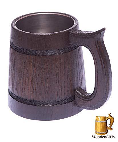 Party Stein Groom (WoodenGifts Classic Beer Mug (20 oz.) German Oak Wood Stein w/Stainless-Steel Cup Interior | Vintage Viking Tankard | Handmade, Rustic Brown Barrel | Party, Festival, Oktoberfest)