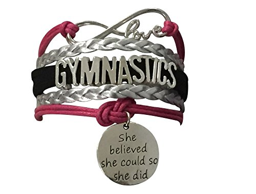 Infinity Collection Girls Gymnastics Bracelet- Gymnastics She Believed She Could So She Did Jewelry for Gymnast