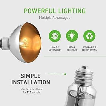 125W//160W High Intensity Self-Ballasted IR UVA UVB Mercury Vapor VIVOSUN Reptile Heat Lamp Bulb