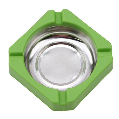 Advertising Cigarette - HEARTLIFE Ashtrays 1Pc Portable Ashtray Candy Color Plastic Stainless Steel Square Edging Ashtray Home Office Advertising Cigarette Accessories,Green