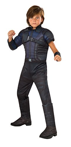 Hawkeye Costumes Marvel Heroes (Rubie's Costume Captain America: Civil War Hawkeye Deluxe Muscle Chest Child Costume, Small)