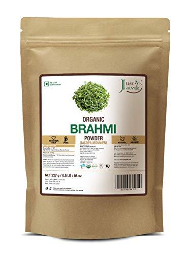 Just Jaivik 100% Organic Brahmi Powder Bacopa Monnieri- USDA Certified Organic, 227 GMS / 1/2 LB Pound / 08 Oz
