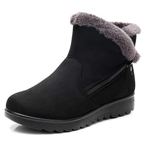 Dear Time Women Winter Warm Button Snow Boots (US 8, Black -
