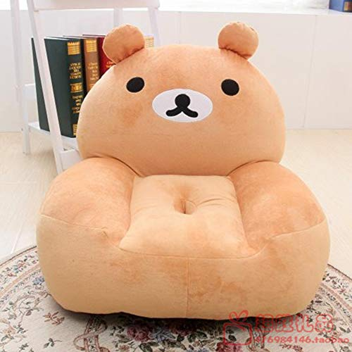 TOYSOFA Kid Bear Chair, Cute Cartoon Elephant Child Sofa Plush Stuffed Animal Bean Bag Chair Children's Furniture Gifts for boy Girl Ages up 2 -Brown 54x45cm(21x18inch)