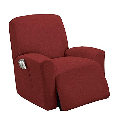 Stretch To Fit One Piece Lazy Boy Chair Recliner Slipcover, Stretch Fit Furniture Chair Recliner Cover With 3 Foam Pieces to Hid Extra Fabric, 4 ELASTIC STRAPS for Cover Stability(Burgundy)