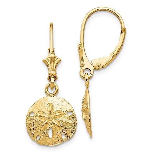 Mia Diamonds 14k Yellow Gold Sand Dollar Leverback Earrings (30mm x 12mm) ()