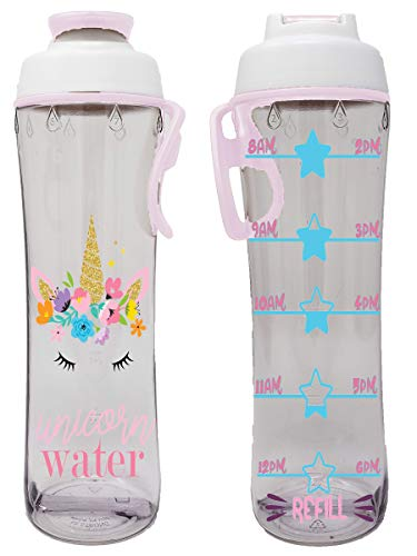 Water Bottle for Kids With Time Markers – Motivational Bottles Remind Boys & Girls To Drink Water All Day – BPA Free, Leak Proof Plastic Bottle with Chug Cap & Carry Loop – USA Made (Unicorn Water)