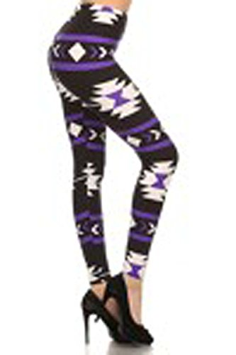 Leggings Depot Ultra Soft Women's Popular BEST Printed REGULAR and PLUS Size Fashion Leggings Batch19 (Regular (Size 0-12), Purple Aztec)