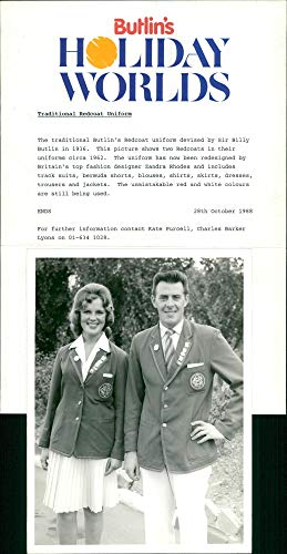 Vintage photo of Butlins:the traditional redcoat uniform.]()