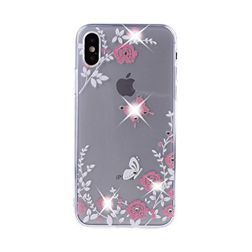 Hybrid Fusion Protector (Urberry Iphone X Case, iPhone 10 Transparent Fusion Hybrid Cover, Bling Diamond Crystal Case for iPhone X with a Screen Protector (Grass))