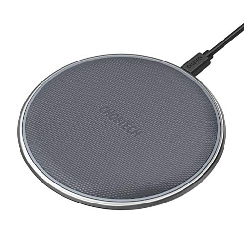 CHOETECH Fast Wireless Charger, Qi Certified 7.5W Zinc Alloy & PU Ultra-Slim Wireless Charger Compatible iPhone Xs/XS Max/XR/X/8/8 Plus, 10W Compatible Samsung Galaxy S9/S8/Note 9,5W All Qi-Enabled