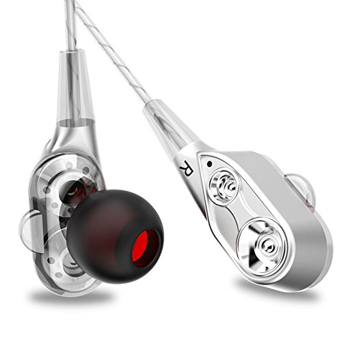 Headphone in Ear Earbuds Dual Dynamic Drivers HIFI Stereo Bass Earphones with Mic Strong Bass and Noise Reduction Volume Control Headset for Apple iOS and Android Computer PC Tablet (Silver) by NORWOLF