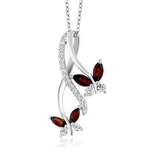 1.21 Ct Marquise Red Garnet 925 Sterling Silver Butterfly Infinity Pendant