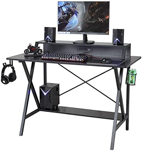 Sedeta Gaming Desk, 47 Gaming Table, E-Sports Computer Desk, Gaming Workstation Desk, PC Stand Shelf Power Strip with USB Cup Holder Headphone Hook Home Office Desk Gamer Desk Writing Table, Black